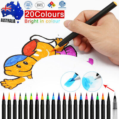 20-Color Watercolor Painting Pen Brushes Artist Sketch Drawing Marker Pens Set H