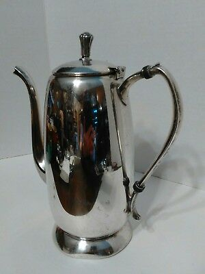 Vintage Silver on Copper Coffee Tea Pot with Hinged Lid & Bird Beak Spout