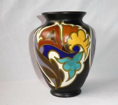 "Antique Gouda Art Pottery 7"" Vase Zuid Holland Grotius Decorated"