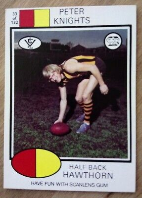 """SCANLENS GUM 1975 """"RUGBY LEAGUE - #33 Peter Knights Hawthorn RARE TRADE CARD"""