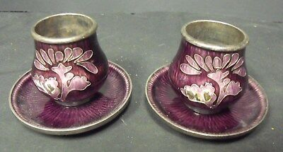 RARE 99% Silver Korean Guilloche Enamel Salt & Pepper Cellars w/ Under Plates