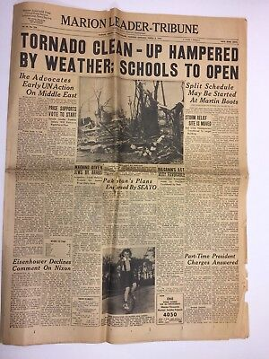 Tornado Marion Indiana 1956 Historical Newspaper (Not Complete)