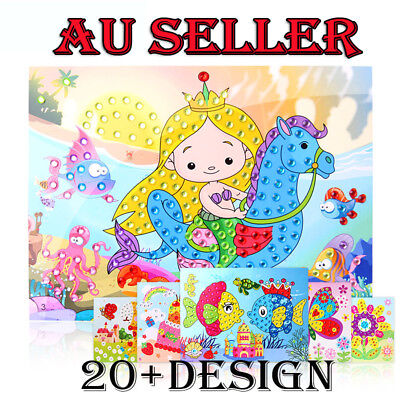 Kids Developmental 3D Crystal Mosaics Art Sticker Colouring Craft Kit Toy Gift