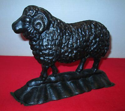 Vtg Cast Iron Black Sheep RAM Doorstop Bookend Country Farmhouse Charm