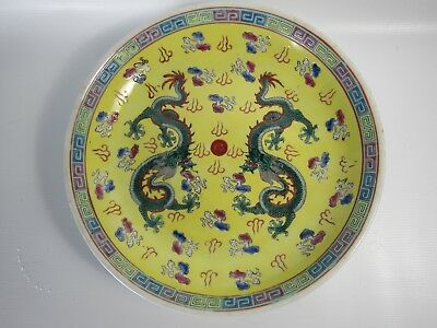 Chinese Famille Rose Porcelain Dragon Charger in Yellow Ground