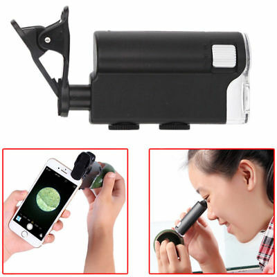 60X 100X Zoom Microscope Magnifier Camera LED Micro Lens Clip-On for Phone 7751W