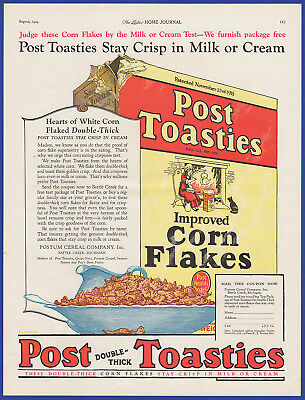 Vintage 1924 POST TOASTIES Postum Breakfast Cereal Food Kitchen Print Ad 1920's