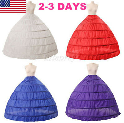 6 Hoop Crinoline Full A-Line Floor-Length Bridal Dress Gown Skirt Slip Petticoat