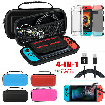 4in1 for Nintendo Switch Carrying Case Bag+Hard Cover+Glass Film +Charging Cable