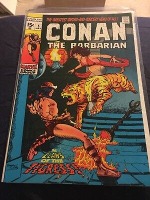CONAN THE BARBARIAN #5 - Barry Smith art- Bronze Age 1971! Claws of the Tigress
