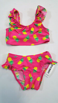 NWT Girls Old Navy Size 18 24 Months or 4t Pink Pineapple Bikini Bathing Suit
