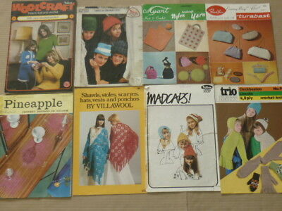 8 Vintage Knitting/Crochet Pattern Books - Hats, Gloves, Scarves Cosies, Shawls