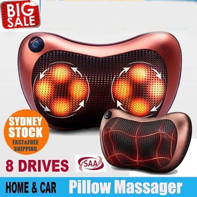 8 Heads Magnetic Electronic Neck Massager Shoulder Back Waist Massage Pillow RG