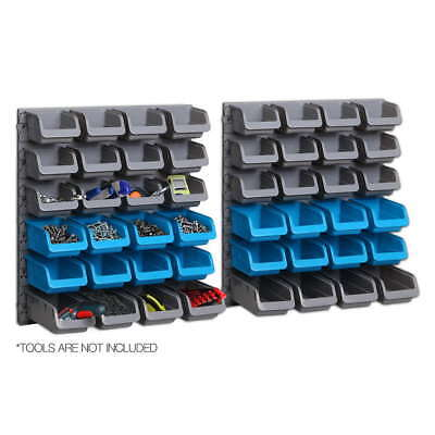 48Pc Workshop Small Parts Storage Bins Tool Box Wall Mounted Tray Rack Organiser
