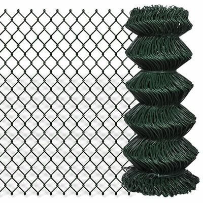 vidaXL 0.8x15m Chain Link Mesh Fence Garden Netting Galvanised Steel PVC Coated