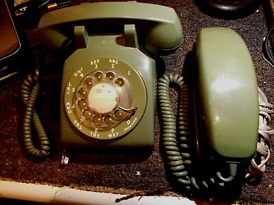 Set of Vintage Green Rotary Dial Phones ITT Slim Line and Great Western Desk