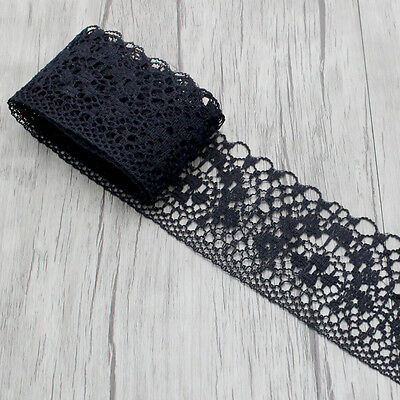 Black Floral Mesh Lace - 40mm wide - sold by the metre - Sewing / Craft / DIY