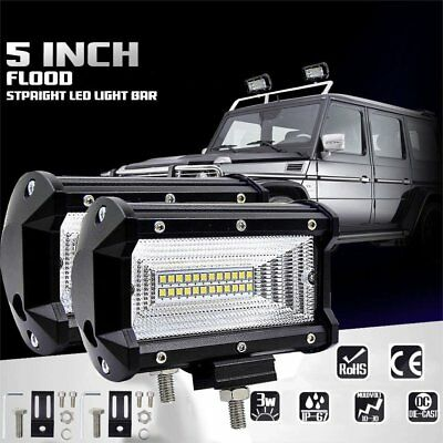 "2X5"" Inch 72W Flood LED Work Light Bar Boat Truck Offroad SUV Driving Waterproof"