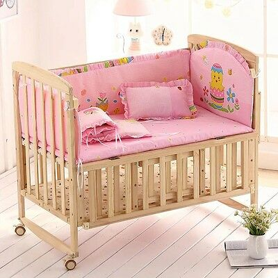Hot Baby Bedding Set Lovely Ruffled Infant Crib Mattress Mat Security Bumpers
