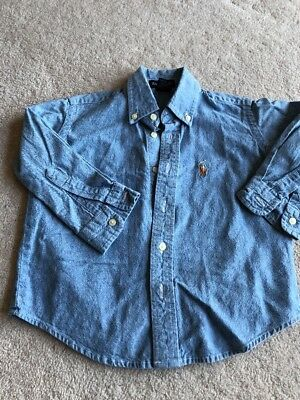 Boys Blue Chambray Cotton Shirt By Ralph Lauren Age 3 Years