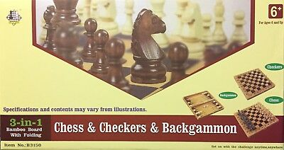 3 In 1 Large Wooden Chess Set Board Game Chess-Checkers-Backgammon *uk Seller*