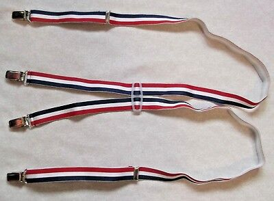 VINTAGE CLIP ON  BRACES 1970s 1980s MENS RED WHITE BLUE STRIPED SIZE SMALL MED