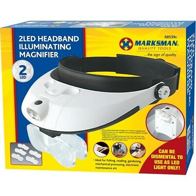 Headband Lamp Lightweight Head Magnifier Adjustable 2 Led Light Magnifying Glass