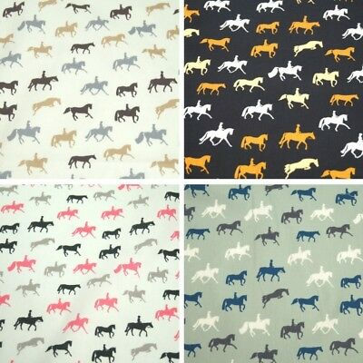 100% Cotton Poplin Fabric by John Louden Horses Equestrian Pony Material