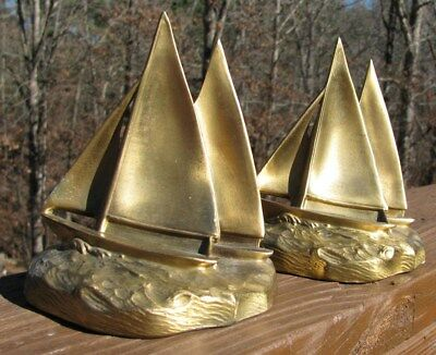 PR Vintage Sail Boat/ ship/ nautical/maritme bookends- Brass plate-Heavy/durable