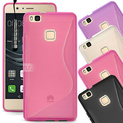 For Huawei P9 Lite VNS-L21 Soft Gel Silicone Rubber Case Cover + Mini Stylus