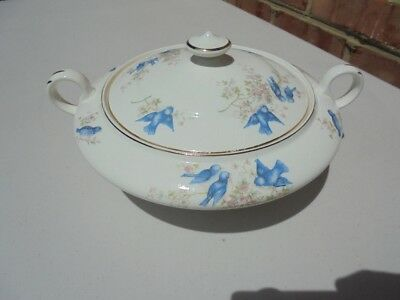 Vintage Antique Knowles Taylor & Knowles Bluebird Covered Casserole