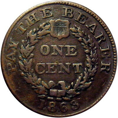 1863 Pay The Bearer One Cent Patriotic Civil War Token R5 Scarce Larger Size