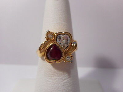 Avon Red Clear Double Heart Ring Gold Tone Rhinestone Accent Size 7 Retro