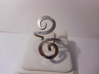Silver Tone S Curved Bypass Ring 800 Silver Retro