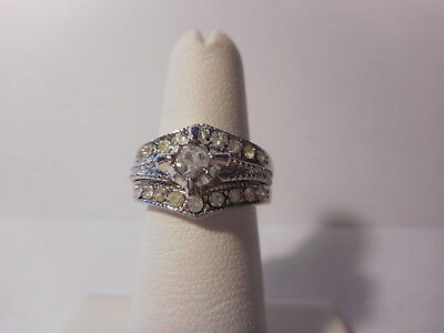 White Stone Rhinestone Accent Two Ring Silver Tone Ring Set 18KT GE Size 7