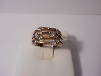 RSC Signed Four Layer Band Ring Rhinestone Accents Gold Tone Size 7