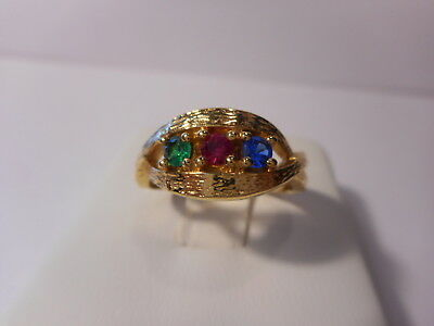 Multi Color Blue Green Red Three Stone Twisted Band Ring Gold Tone Size 7