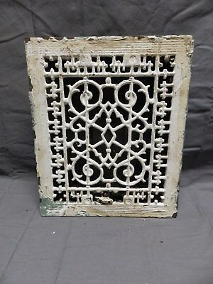 Antique Cast Iron Floor Wall Heat Grate 12x10 Louvres Victorian Design  328-18P