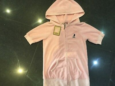 NWT Juicy Couture New & Gen. Girls Age 8 Pink Cotton Short Sleeve Hoody & Logo