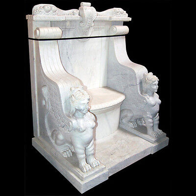 White Marble Throne Chair with Carved Sphinxes #5232
