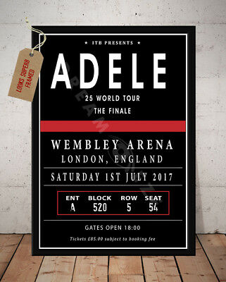 Adele 25 Tour London Wembley 2017 Autographed Signed Retro Style Print Poster