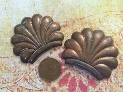 Vintage Large 37 x 46mm Aged Copper Brass Scallop Shell Stampings Findings 2