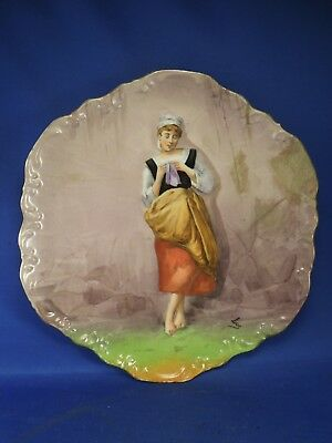 Vintage Hand Painted Limoges Coronet Maiden Woman Plate Signed Luc- France