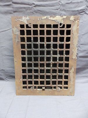 Antique Cast Iron Floor Wall Heat Grate 14x11 Louvres Arts Crafts Vent 332-18P