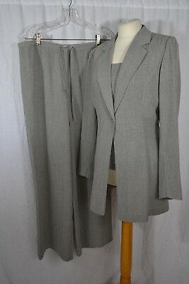VINTAGE 1990s CLAUDIA STRATER grey trouser suit size 12/14 jacket/top/trousers