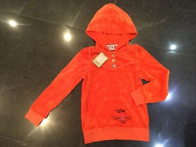 NWT Juicy Couture New & Genuine Girls Age 8 Orange Velour Hoody With Juicy Logo