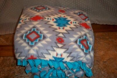 Beautiful Home-made Hand-made Southwest Design Double-layer Fleece Tie Blanket