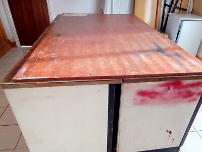 WORK BENCH.  Metal ends,  back  and shelves. Formica top