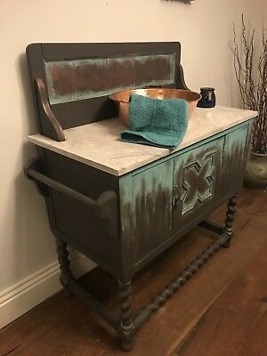 Original French Marble Top Washstand Dressing Table, display, restaurant table.