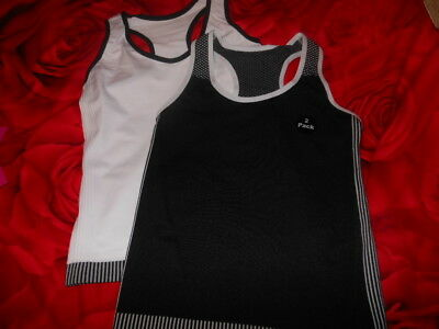 Bnwts Girls Black/White  Seamfree Sports Racer vest long tops 7 - 13 Years